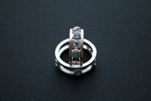 Sterling Silver and Blue Topaz Dress Rings (his and hers)